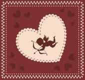Valentinsgruß \ 's-Tageshintergrund mit Amor lizenzfreie abbildung