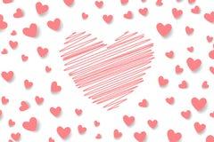 Valentinsgruß ` s Tageshintergrund Rosa Herzen und Raum für Text vektor abbildung