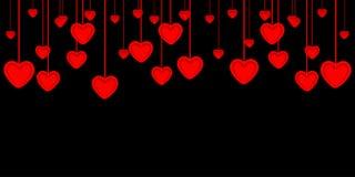 Valentinsgruß ` s Tageshintergrund Rote Papierherzen als Flaggen stock abbildung