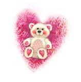 Valentinsgruß ` s Tagesillustration mit nettem Teddybären Innerform, Liebe Teddybärspielzeugskizze lokalisiert auf Herzhintergrun Stockbilder