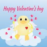 Valentinsgruß ` s Tageskarte mit Entenengel und -herzen Vektor Abbildung