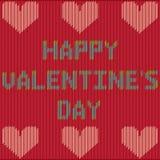 Valentinsgruß ` s Tageskarte mit gestricktem Text Stock Abbildung