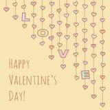 Valentinsgruß ` s Tageskarte mit Herzgirlanden Lizenzfreie Stockfotografie