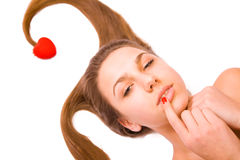 Valentinsgruß \ \ \ 's-Tagesmädchen auf Weiß Lizenzfreies Stockfoto