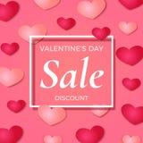 Valentinsgruß ` s Tagverkaufshintergrund-, -plakat-, -broshure- oder -fliegerschablone Stockfotos