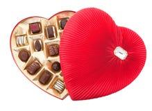 Valentinsgruß-Schokoladen mit Ausschnitts-Pfad Stockfoto