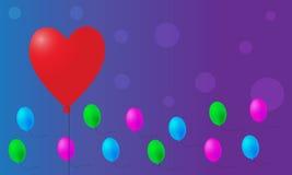 Valentinsgruß steigt Hintergrund im Ballon auf Stockfoto
