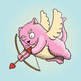 Valentinsgruß-Tag, Valentinsgruß-Amor-Katze, Liebhaber ` s Herz mit Amor-Pfeil anstrebend lizenzfreie abbildung
