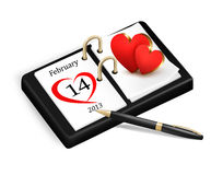 Valentinsgruß-Tag im Kalender Stockfotografie