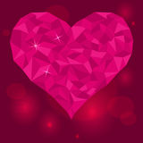 Valentinsgruß-Tag-Liebe-Herz-auf-purpurrot-rot-Hintergrund Lizenzfreies Stockbild