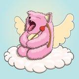 Valentinsgruß-Tag, mythischer gähnender Amor rosa Cat Tired auf der Wolke mit Amor-Pfeil und Bogen Stockbild