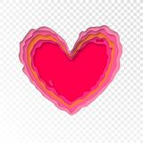 Valentinsgruß-Tag-papercut Herz für Valentinsgrußfeiertags- oder Hochzeitsgrußkartendesignschablone Vektor lokalisiertes rotes ro Lizenzfreie Stockfotografie