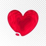Valentinsgruß-Tag-papercut Herz für Valentinsgrußfeiertags- oder Hochzeitsgrußkartendesignschablone Vektor lokalisiertes rotes ro Stockfoto