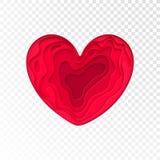 Valentinsgruß-Tag-papercut Herz für Valentinsgrußfeiertags- oder Hochzeitsgrußkartendesignschablone Vektor rotes rosa modernes pa Stockfotos
