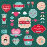 Valentinsgruß-Tagesausweise, Ikonen eingestellt Stockfotografie