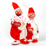 Valentinsgruß-Tagesclowne mit Herzen Lizenzfreies Stockfoto
