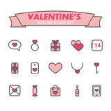 Valentinsgruß-Tagesentwurfsikonen eingestellt Stockbilder