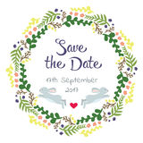 Valentinsgruß-Tagesgruß-Karte mit Kranz Liebesbeschriftung Vervollkommnen Sie für, Aufkleber, Geburtstag, speichern Sie die Datum Lizenzfreie Stockfotografie