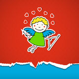 Valentinsgruß-Tageshintergrund mit Amor Lizenzfreies Stockbild