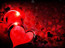 Valentinsgruß-Tageshintergrund mit funkelnden Inneren Stockbild