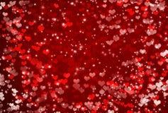 Valentinsgruß-Tageshintergrund mit Herzen und Sternen Stockbilder