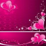 Valentinsgruß-Tageshintergrund mit Inneren und florals Lizenzfreie Stockbilder