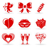 Valentinsgruß-Tagesikonen Stockfotos