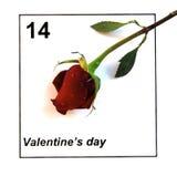 Valentinsgruß-Tageskalender mit einzelnem stieg Lizenzfreie Stockbilder