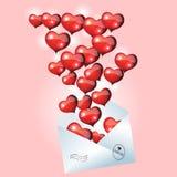 Valentinsgruß-Tageskarte mit Umschlag und Herzen Satz 8 lizenzfreie abbildung