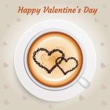 Valentinsgruß-Tageskonzepthintergrund mit heißem Kaffee Stockbild