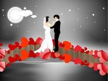 Valentinsgruß-Tagesnachthintergrund mit eben verheiratetes Paar dancin Lizenzfreie Stockfotografie