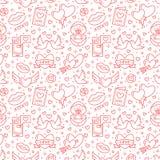 Valentinsgruß-Tagesnahtloses Muster Lieben Sie, Romanze flache Linie Ikonen - Herzen, Verlobungsring, Kuss, Ballone, Tauben lizenzfreie abbildung