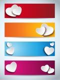 Valentinsgruß-Tagesset von vier Fahnen stock abbildung