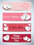Valentinsgruß-Tagesset von vier Web-Fahnen vektor abbildung
