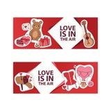Valentinsgruß-Tagesvektorillustration Liebe ist in der Luftfahne, Plakat, Flieger, Broschüre mit Herzen, Bärnspielwaren, Geschenk lizenzfreie stockbilder