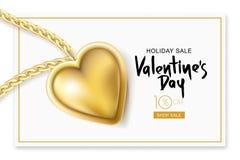 Valentinsgruß-Tagesverkaufs-Fahne Vector Feiertagsrahmen mit Goldhalskettenketten- und -herzanhänger auf weißem Kartenhintergrund Stockbilder