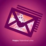 Valentinsgruß-und Hochzeit Umschlag mit Collagenillustration Stockfoto
