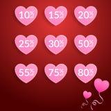 Valentinsgrußaufkleber-Verkaufspreisrabatt, damit den Speicher oder der Supermarkt Geschenk für Liebhaber kauft Stockfoto