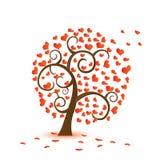 Valentinsgrußbaum, Liebe, Blatt von den Inneren fallen vektor abbildung