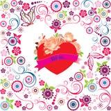 Valentinsgrußdekoration mit Herzen stockbilder