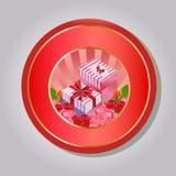Valentinsgrußemblemgeschenkbox Stockbild