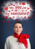Valentinsgrußfrau auf rotem Hintergrund Lizenzfreie Stockfotos