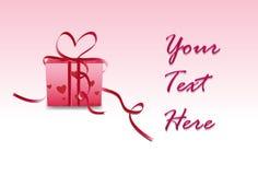 Valentinsgrußgeschenkkasten mit fügen Text hinzu lizenzfreie abbildung