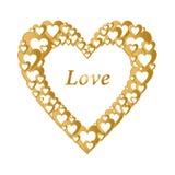 Valentinsgrußgoldhintergrund mit dunklem Goldherzen mit Goldherzzusammensetzung Gruß für Liebhaber und für Mutter ` s Tag Stockfotografie