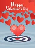 Valentinsgrußgruß mit Zeiger zwei zum Herzkonzept Stockfotografie