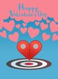 Valentinsgrußgruß mit Zeiger zwei zum Herzkonzept Stockfoto