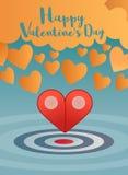 Valentinsgrußgruß mit Zeiger zwei zum Herzkonzept Stockbilder