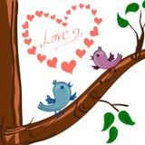 Valentinsgrußherz und Vogel zwei auf dem Baum Lizenzfreies Stockbild