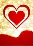 Valentinsgrußhintergrund mit dem goldenen Glühen hören stock abbildung