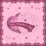 Valentinsgrußhintergrund mit Herzen und Blumen nach innen Stockfotos